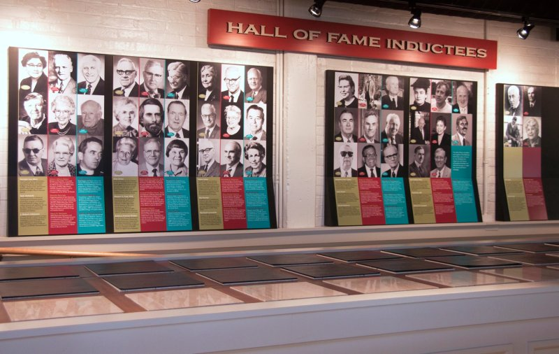 Photo of a display of inductees in the Hall of Fame Leaders and Legends of the Blindness Field