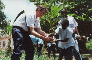 Tree planting at deafblind unit, Kwale School for the Deaf, Kenya