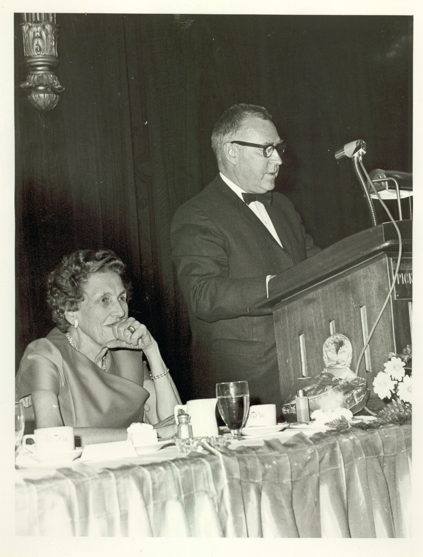 Mary Switzer and Richard Hoover at banquet, ca. 1965
