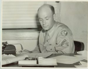 Warren Bledsoe editing the Craig Field Journal, 1943