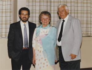 Dr. William Wiener, Ruth Kaarlela, and Donald Blasch at Ruth Kaarlela's retirement party as chair of the WMU department (1986)