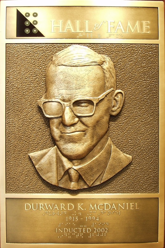 Durward McDaniel's Hall of Fame Plaque