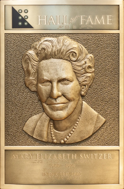 Mary Switzer's Hall of Fame Plaque