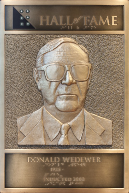 Donald Wedewer's Hall of Fame Plaque