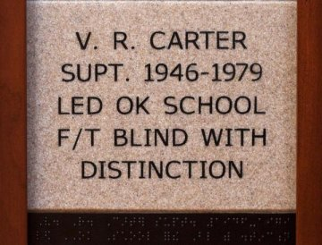 V.R. Carter Supt. 1946-1979 Led OK School F/T Blind with Distinction