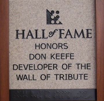 Hall of Fame Honors Don Keefe developer of the Wall of Tribute