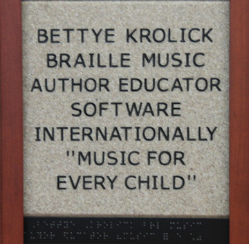 Bettye Krolick Braille Music Author Educator Software Internationally 'Music for Every Child'