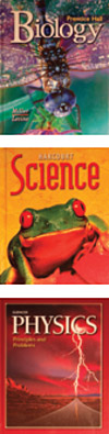 Biology, science, and physics textbooks