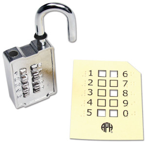 A pushbutton padlock with its combination card in large print and braille.