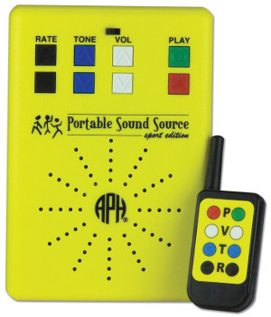 A portable sound source with a remote control.