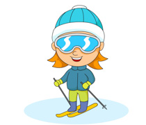 little girl wearing large ski goggles skiing clipart