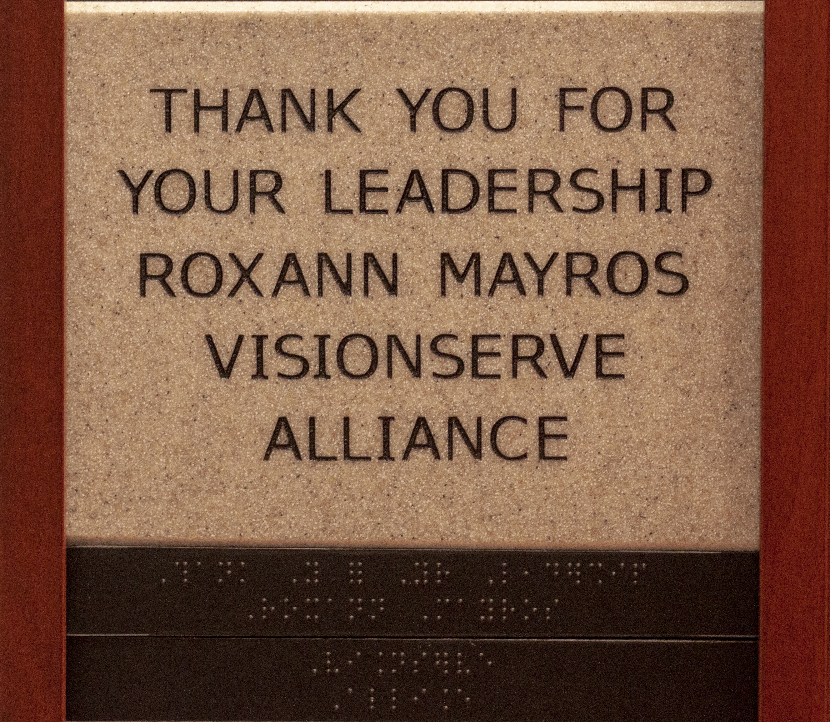 Thank You for your Leadership Roxann Mayros Visionserve Alliance